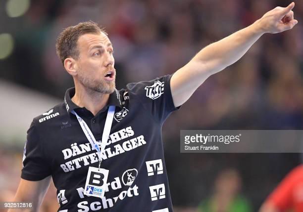 Maik Machulla head coach of Flensburg reacts during the DKB Bundesliga Handball match between SG FlensburgHandewitt and Fuechse Berlin at FlensArena...