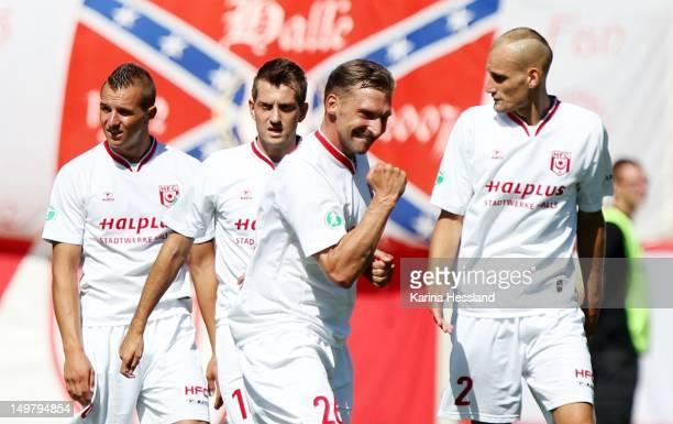 Maik Wagefeld of Halle celebrates their 30 victory during the 3Liga match between Hallescher FC and RW Erfurt at the ErdgasSportpark on August 04...