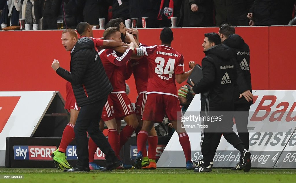 Maik Walpurgis, head coach of FC Ingolstadt and his team celebrate their side's second goal during the Bundesliga match between FC Ingolstadt 04 and 1. FC Koeln at Audi Sportpark on March 11, 2017 in Ingolstadt, Germany.