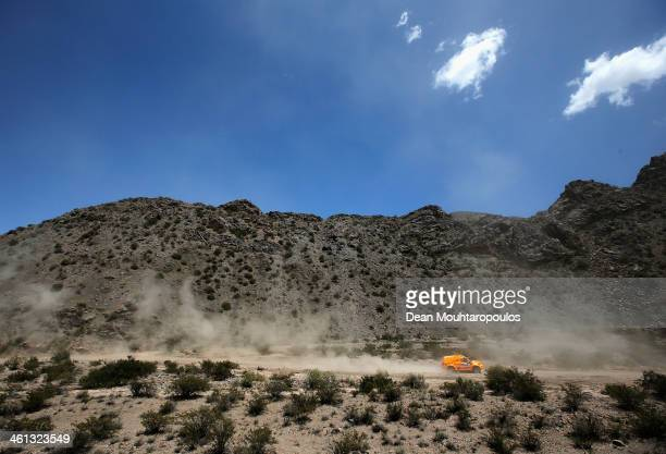 Maik Willems and Rob Van Pelt of the Netherlands for Toyota Bastion Hotels Dakar Team compete on Day 3 of the Dakar Rally 2014 on January 7 2014 in...