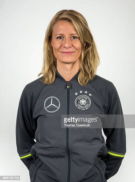 Maika Fischer team manager of the Germany national U17 team poses during the team presentation on September 6 2016 in Jena Germany