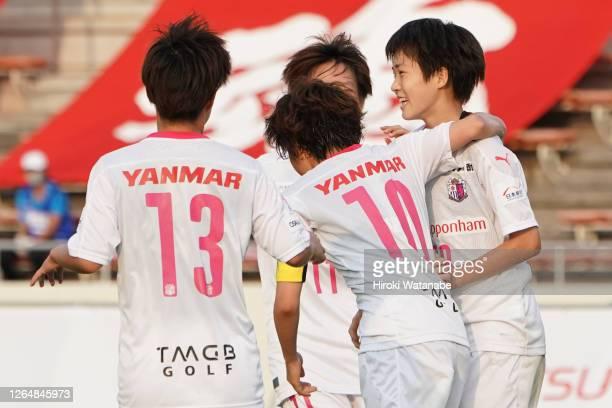 Maika Hamano of Cerezo Osaka Sakai Ladies celebrates scoring her team's first goal during the Nadeshiko League match between Urawa Red Diamonds...