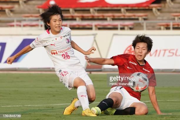 Maika Hamano of Cerezo Osaka Sakai Ladies scores her team's first goal during the Nadeshiko League match between Urawa Red Diamonds Ladies and Cerezo...
