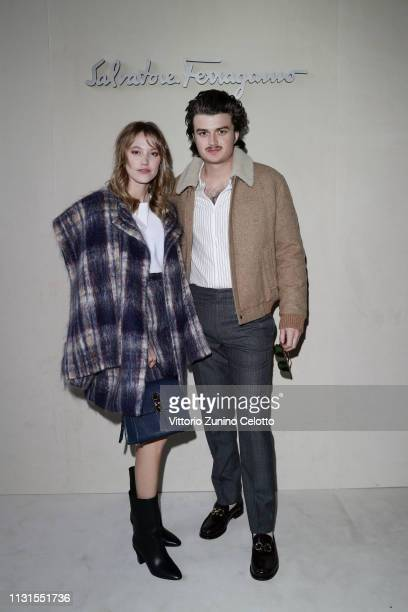 Maika Monroe and Joe Keery attend the Salvatore Ferragamo show during Milan Fashion Week Autumn/Winter 2019/20 on February 23, 2019 in Milan, Italy.