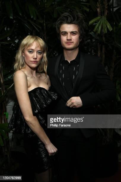 Maika Monroe and Joe Keery attend Vanity Fair and Saint Laurent Celebrate Parasite on February 07 2020 in Los Angeles California