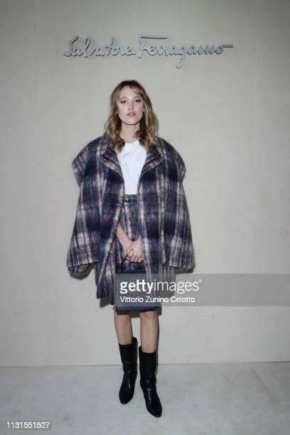 Maika Monroe attend the Salvatore Ferragamo show during Milan Fashion Week Autumn/Winter 2019/20 on February 23, 2019 in Milan, Italy.
