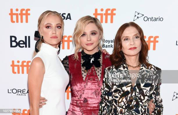 Maika Monroe Chloë Grace Moretz and Isabelle Huppert attend the Greta premiere during the 2018 Toronto International Film Festival at Ryerson Theatre...