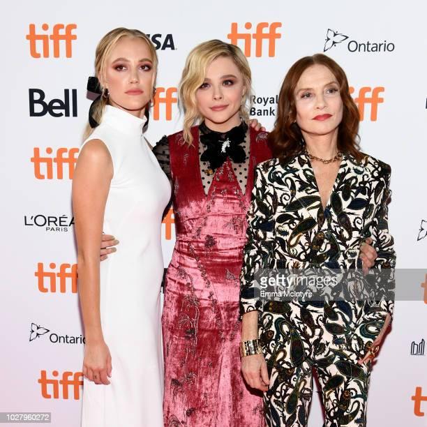 "Maika Monroe, Chloë Grace Moretz, and Isabelle Huppert attend the ""Greta"" premiere during the 2018 Toronto International Film Festival at Ryerson..."