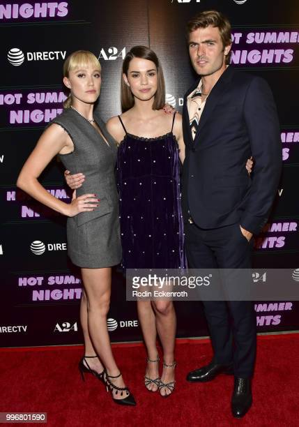 Maika Monroe Maia Mitchell and Alex Roe arrive at the screening of A24's 'Hot Summer Nights' at Pacific Theatres at The Grove on July 11 2018 in Los...