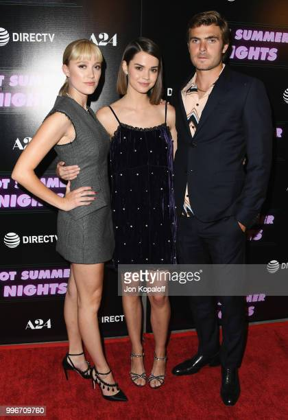 Maika Monroe Maia Mitchell and Alex Roe attend the Los Angeles special screening of 'Hot Summer Nights' at Pacific Theatres at The Grove on July 11...
