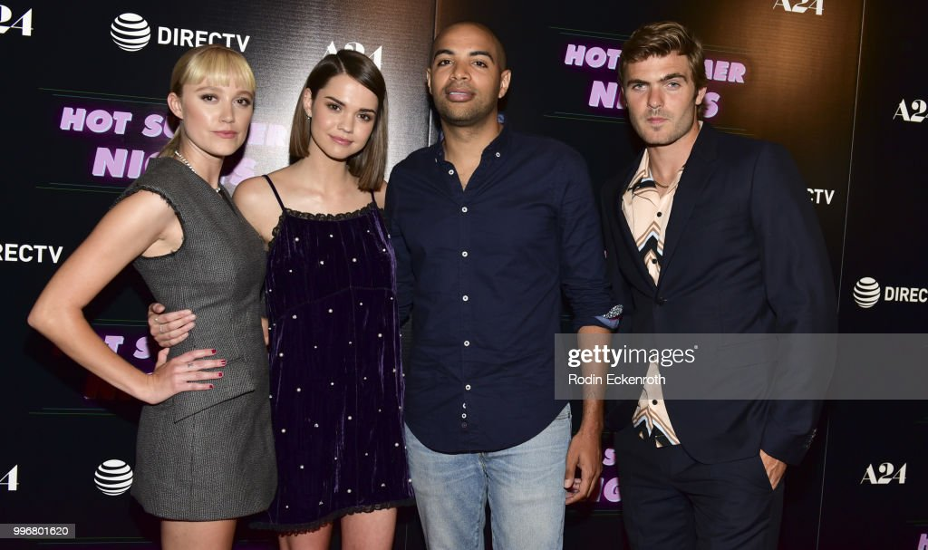 Maika Monroe, Maia Mitchell, Elijah Bynum, and Alex Roe arrive at the screening of A24's 'Hot Summer Nights' at Pacific Theatres at The Grove on July 11, 2018 in Los Angeles, California.
