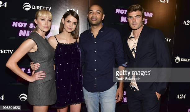 Maika Monroe Maia Mitchell Elijah Bynum and Alex Roe arrive at the screening of A24's 'Hot Summer Nights' at Pacific Theatres at The Grove on July 11...