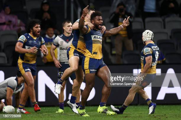 Maika Sivo of the Eels celebrates after scoring a try during the round two NRL match between the Parramatta Eels and the Melbourne Storm at Bankwest...
