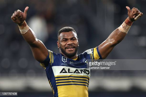 Maika Sivo of the Eels celebrates after winning the round 11 NRL match between the Parramatta Eels and the Wests Tigers at Bankwest Stadium on July...