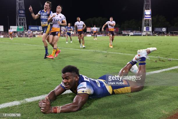 Maika Sivo of the Eels celebrates scoring a try during the round seven NRL match between the Parramatta Eels and the Brisbane Broncos at TIO Stadium,...