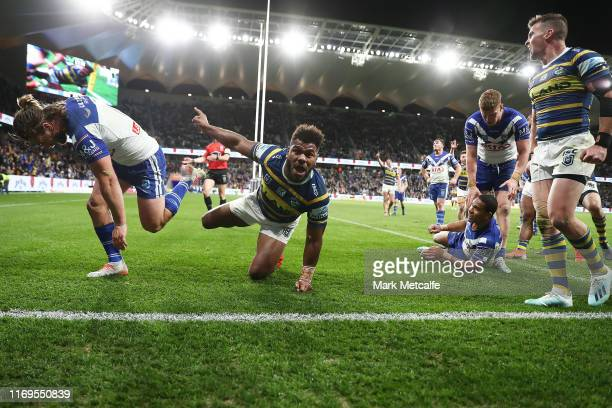 Maika Sivo of the Eels celebrates scoring a try that wasn't given during the round 23 NRL match between the Parramatta Eels and the Canterbury...