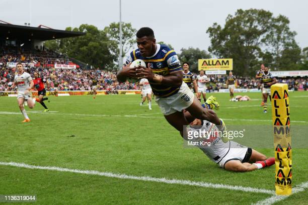 Maika Sivo of the Eels dives in the corner before the try was disallowed during the round one NRL match between the Penrith Panthers and the...