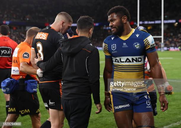 Maika Sivo of the Eels is sent to the Sin Bin and reported for a high shot on Adam Doueihi of the Tigers during the round 14 NRL match between the...