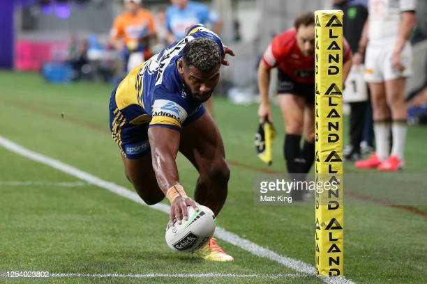 Maika Sivo of the Eels scores a try during the round eight NRL match between the Parramatta Eels and the North Queensland Cowboys at Bankwest Stadium...