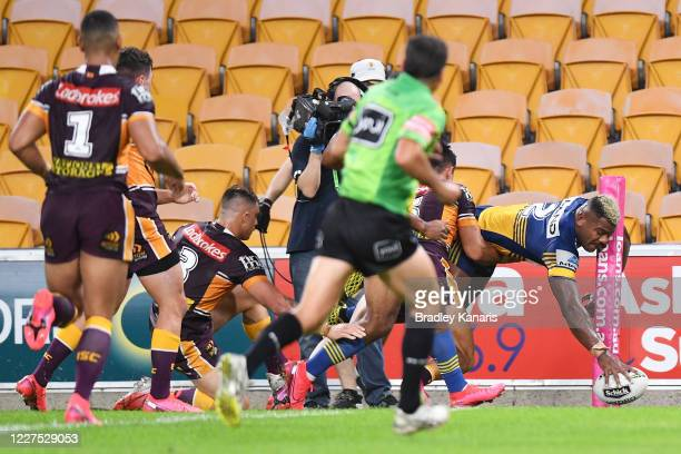 Maika Sivo of the Eels scores a try during the round three NRL match between the Brisbane Broncos and the Parramatta Eels at Suncorp Stadium on May...