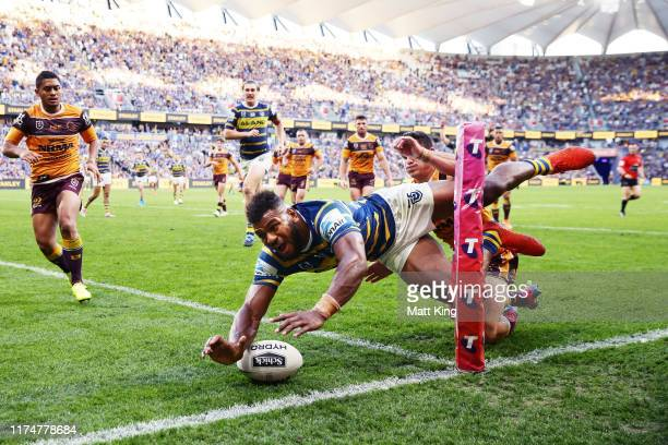 Maika Sivo of the Eels scores a try in the corner during the NRL Elimination Final match between the Parramatta Eels and the Brisbane Broncos at...
