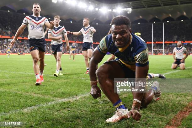Maika Sivo of the Eels scores a try, which was then disallowed by the video referee during the round nine NRL match between the Parramatta Eels and...