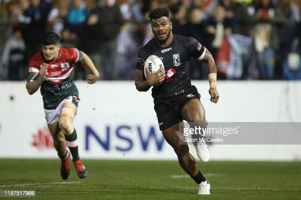 MaikaSivo of Fiji makes a break during the Pacific International Test Match between Fiji and Lebanon at Leichhardt Oval on June 22, 2019 in Sydney,...
