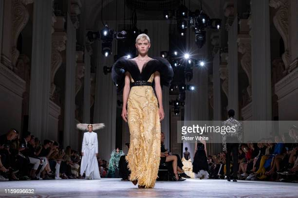 Maike Inga walks the runway during the Givenchy Haute Couture Fall/Winter 2019 2020 show as part of Paris Fashion Week on July 02 2019 in Paris France