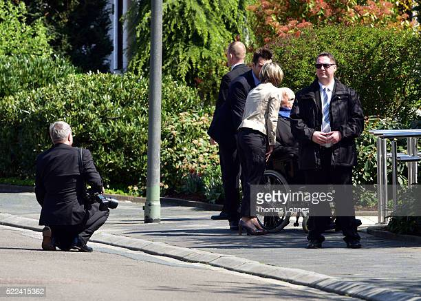 Maike KohlRichter and the former German Chancellor Helmut Kohl stand in front of Kohl's villa in Oggersheim after the visit of the Hungarian Prime...