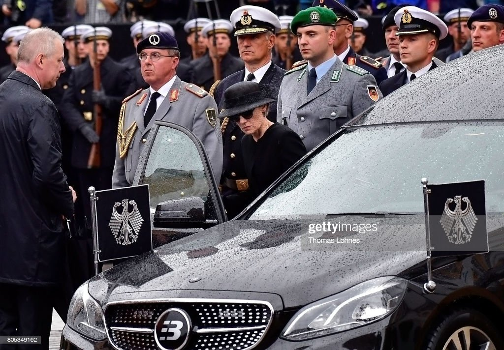 Maike Kohl-Richter get into the hearse that brings the coffin of former German Chancellor Helmut Kohl after the requiem at the Speyer cathedral to the cemetery on July 1, 2017 in Speyer, Germany. Kohl was chancellor of Germany for 16 years and led the country from the Cold War through to reunification. He died on June 16 at the age of 87.