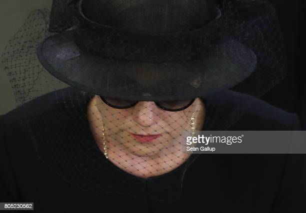 Maike KohlRichter the widow of former German Chancellor Helmut Kohl depart following the memorial ceremony for Kohl at the European Parliament on...