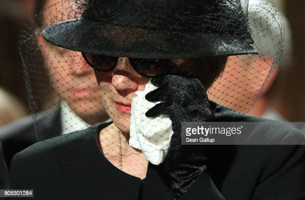 Maike KohlRichter the widow of former German Chancellor Helmut Kohl dabs an eye prior to a requiem for Kohl at the Speyer cathedral on July 1 2017 in...