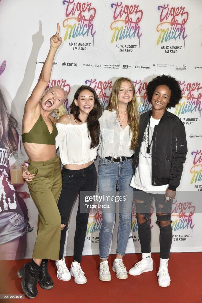 Maike Mohr, Emily Kusche, Flora Li Thiemann and Alice Martin attend the 'Tigermilch' Premiere at Kino in der Kulturbrauerei on August 15, 2017 in Berlin, Germany.