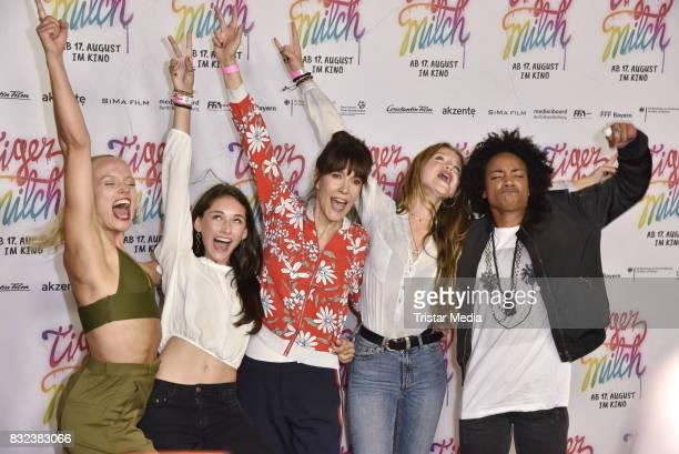 Maike Mohr, Emily Kusche, Ute Wieland, Flora Li Thiemann and Alice Martin attend the 'Tigermilch' Premiere at Kino in der Kulturbrauerei on August...