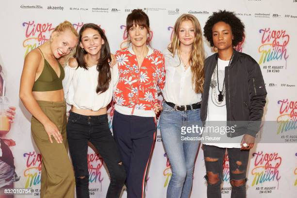 Maike Mohr of Chefboss actress Emily Kusche director Ute Wieland actress Flora Li Thiemann and Alice Martin of Chefboss attend the 'Tigermilch'...