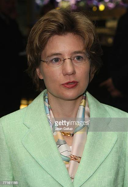 Maike Richter attends a ceremony to unveil a bust of former German Chancellor Helmut Kohl in the Axel Springer Passage October 2 2007 in Berlin...