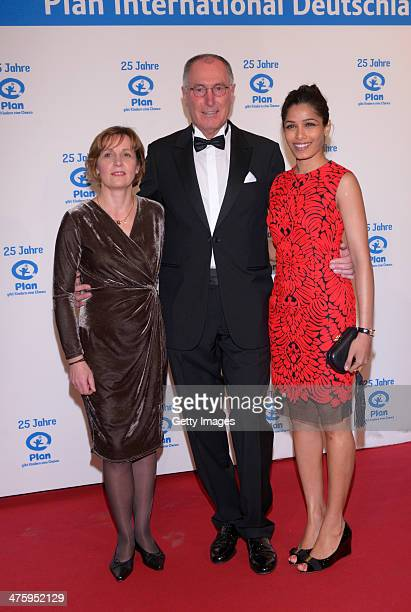 Maike Roettger managing director Plan Germany Dr Werner Bauch CEO Plan Germany and Freida Pinto attend 25 Years Plan International Germany ceremony...