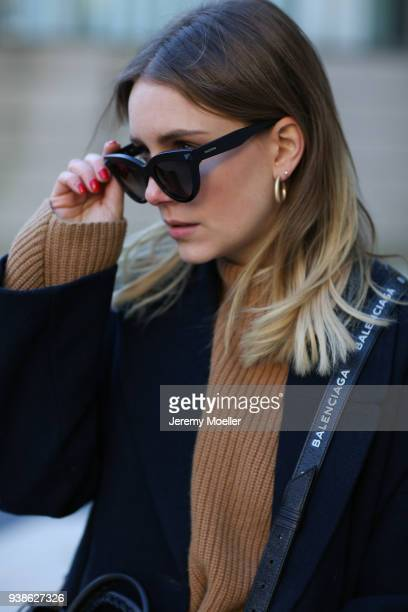 Maike Schmitz from Shoppisticated details from the Valentino sunglasses on January 08 2018 in Hamburg
