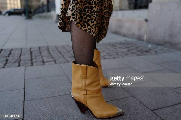 Maike Schmitz wearing Isabel Markant shoes, Leo dress &otherstories on February 18, 2019 in Hamburg, Germany.