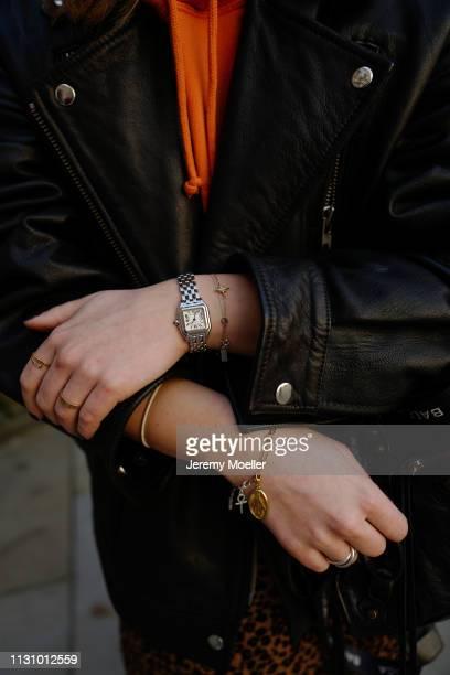 Maike Schmitz wearing Leo dress from &otherstories, Acne Studios hoodie, Asos leather jacket, Earrings Pilgrim on February 18, 2019 in Hamburg,...