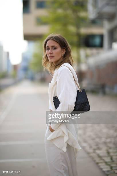 Maike Schmitz wearing Zara look and Chanel bag on May 28, 2020 in Hamburg, Germany.