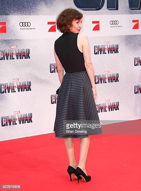 Maike von Bremen arrives at the Berlin premiere of the film 'The First Avenger Civil War' at Sony Centre on April 21 2016 in Berlin Germany