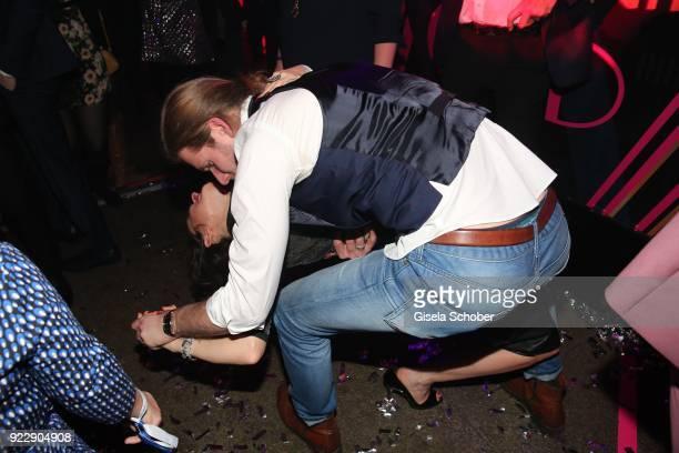Maike von Bremen Konstantin Egerndorfer dance during the BUNTE BMW Festival Night 2018 on the occasion of the 68th Berlinale International Film...