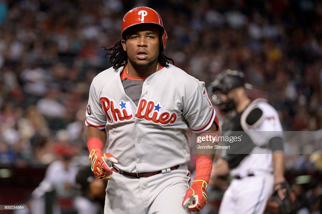 Maikel Franco #7 of the Philadelphia Phillies after hitting a solo home run in the eighth inning of the MLB game against the Arizona Diamondbacks at Chase Field on June 23, 2017 in Phoenix, Arizona.