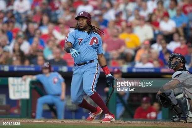 Maikel Franco of the Philadelphia Phillies bats against the Washington Nationals at Citizens Bank Park on June 28 2018 in Philadelphia Pennsylvania