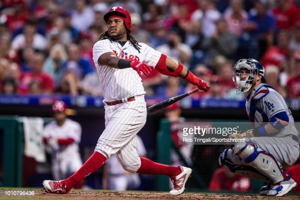 Maikel Franco of the Philadelphia Phillies bats during the game against the Los Angeles Dodgers at Citizens Bank Park on Tuesday July 24 2018 in...