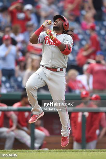 Maikel Franco of the Philadelphia Phillies celebrates a solo home run in the eighth inning during a baseball game against the Washington Nationals at...