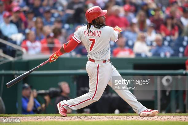 Maikel Franco of the Philadelphia Phillies celebrates a solo home run in the eight inning during a baseball game against the Washington Nationals at...