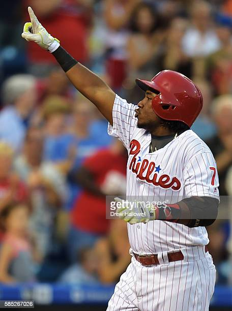 Maikel Franco of the Philadelphia Phillies celebrates a three run home run in the second inning against the San Francisco Giants at Citizens Bank...