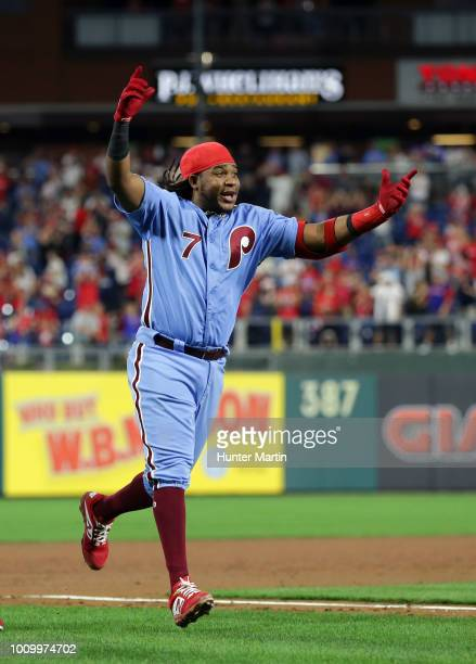 Maikel Franco of the Philadelphia Phillies celebrates after hitting a game winning walkoff threerun home run in the ninth inning during a game...